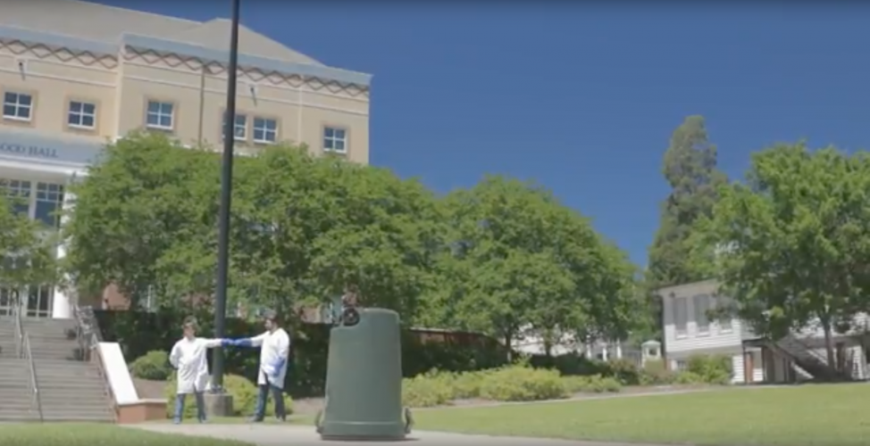 Principles of physics demonstrated through trash can explosion